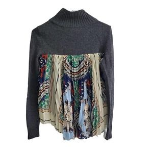 Anthro Moth Knit Sweater With Back Pleated Fabric